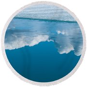 Climate Change Blue Arctic Water Reflected Clouds Round Beach Towel