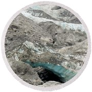 Climate Change Melting Glacier Ice And Sheer Rock Round Beach Towel