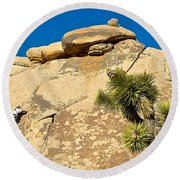 Climber At Quail Springs In Joshua Tree Np-ca Round Beach Towel