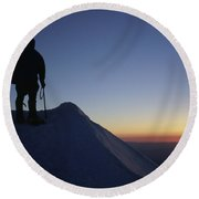 Climber Enjoying A Sunrise Round Beach Towel