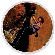 Climber, Red Rocks, Nv Round Beach Towel