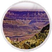 Climbing In Grand Canyon Round Beach Towel