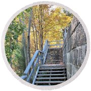 Climing Into Autumn Round Beach Towel
