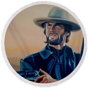 Clint Eastwood Painting Round Beach Towel