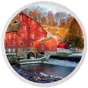 Clinton Mill In Winter Round Beach Towel