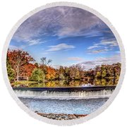 Clinton Nj Historic Red Mill Pano Round Beach Towel