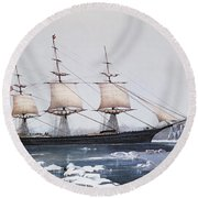 Clipper Ship Red Jacket In The Ice Off Cape Horn On Her Passage From Australia To Liverpool Round Beach Towel