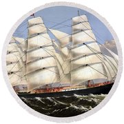 Clipper Ship Three Brothers Round Beach Towel