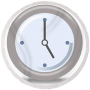 Clock Five Round Beach Towel