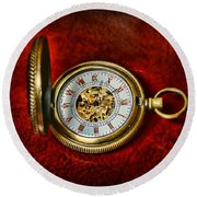 Clock - The Pocket Watch Round Beach Towel by Paul Ward