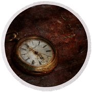 Clock - Time Waits Round Beach Towel by Mike Savad