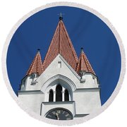 Clock Tower. Evangelic Lutheran Church. Silute. Lithuania. Round Beach Towel