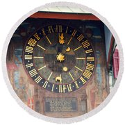 Clock Tower In Solothurn Round Beach Towel