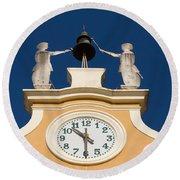 Clock Tower In Bardolino Round Beach Towel