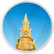 Clock Tower Of Cartagena Round Beach Towel