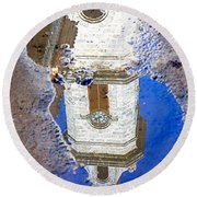 Clock Tower Reflected Round Beach Towel