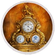 Clockmaker - Anyone Have The Time Round Beach Towel by Mike Savad