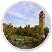 Clocktower And Autumn Colors Round Beach Towel