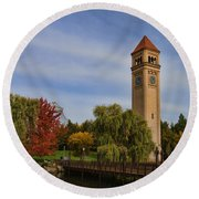 Clocktower Fall Colors Round Beach Towel