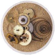 Clockwork Mechanism On The Sand Round Beach Towel