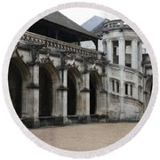 Cloister And Staircase Cathedral Tours Round Beach Towel