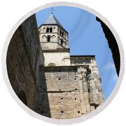 Cloister Cluny Church Steeple Round Beach Towel
