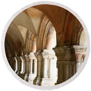 Cloister In Fontenay Abbey, France Round Beach Towel