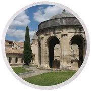 Cloister Of Saint John Chartreuse Du Val De Benediction Round Beach Towel