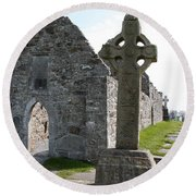 Clonmacnoise Cathedral  And High Cross Ireland Round Beach Towel