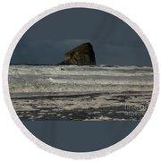 Close Haystack Rock Round Beach Towel