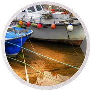 Close Up Boats Round Beach Towel by Svetlana Sewell