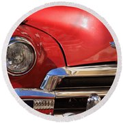 Close Up Of A Red Chevrolet Round Beach Towel