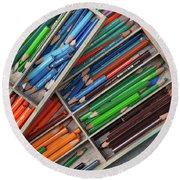 Close-up Of Color Pencils, Ishoj Round Beach Towel