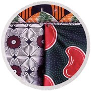 Close Up Of Colorful Khangas For Sale Round Beach Towel