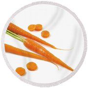 Close-up Of Fresh Carrots Round Beach Towel