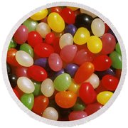 Close Up Of Jelly Beans Round Beach Towel