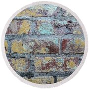 Close-up Of Old Brick Wall Round Beach Towel