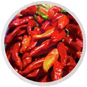 Close-up Of Red Chilies, Taos, New Round Beach Towel
