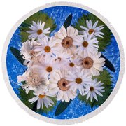 Close Up Of White Daisy Bouquet Round Beach Towel