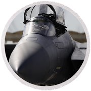 Close-up View Of A F-15c Eagle Round Beach Towel