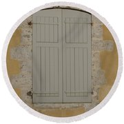 Closed Shutters Round Beach Towel