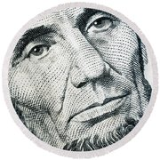 Closeup Of A Five Dollar Bill Round Beach Towel