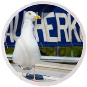 Closeup Of A Seagull On A Fisher Boat  Round Beach Towel
