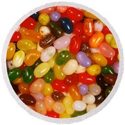 Closeup Of Assorted Jellybeans  Round Beach Towel