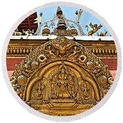 Closeup Of Carving Over Door In Bhaktapur Durbar Square In Bhaktapur-nepal Round Beach Towel