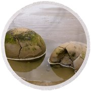 Closeup Of Famous Spherical Moeraki Boulders In Nz Round Beach Towel