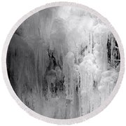 Closeup Of Icy Waterfall - Black And White Round Beach Towel