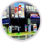 Closing Time Montreal Factory Glatts Produits Quebec Meats Graffiti Art City Scenes Carole Spandau Round Beach Towel