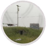 Clothes Line And Fog Round Beach Towel