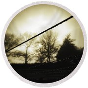 Clotheslines  Round Beach Towel by Les Cunliffe